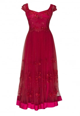 Cranberry Chantilly Lace Anarkali Set