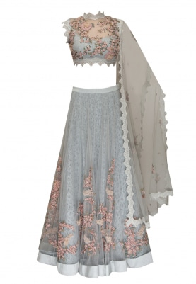 Blue Firdaus Hand Embroidered Anarkaliwith Scalloped Lace Border Attached Dupatta