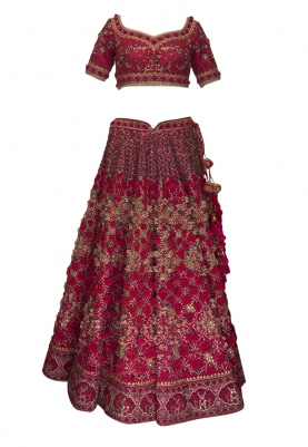 Plum Red Hand Embroidered Charbagh Lehenga, Choli and Dupatta