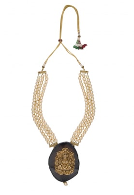 Gold Plated Kundan Studded Pendant with Pearl Necklace