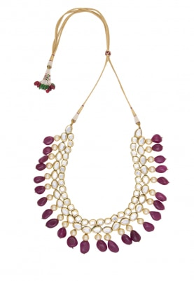 Gold Plated Kundan and Emerald Beads Pearl Necklace