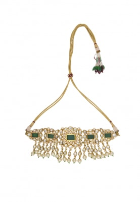 Gold Plated Emerald Multi String Necklace