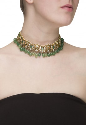 Gold Plated Kundan and Gold Beads Necklace