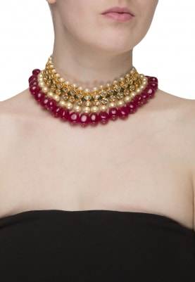 Gold Plated Temple Pendant and Pearl Necklace