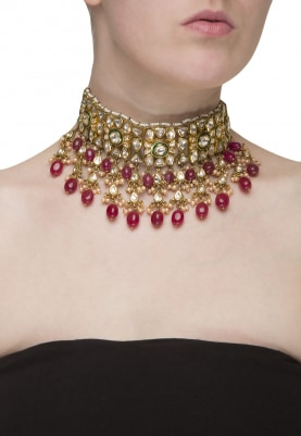 Gold Plated Kundan and Ruby Stone Necklace