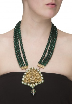 Gold Plated Emerald Beads String Necklace
