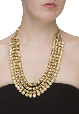 Gold Plated Emerald Beads and Kundan String Necklace