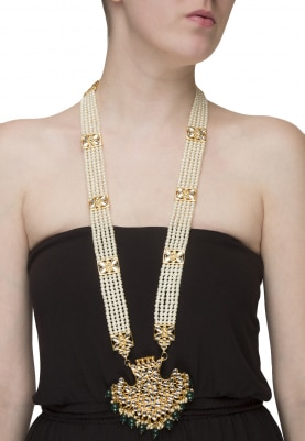 Gold Plated Kundan and Pearl Studded Necklace
