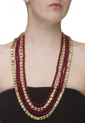 Gold Plated Kundan Studded Double String Necklace