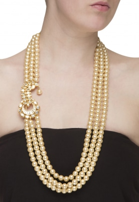Gold Plated Ruby and Kundan Studded Multi String Necklace