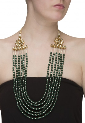 Gold Plated Kundan and Pearl Long Necklace