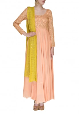 Salmon Pink Zig-Zag Pattern Embroidered Anarkali and Dupatta In Lime