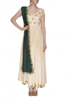 Off-White Yoke Embroidered Anarkali with Rama Green Embroidered Dupatta