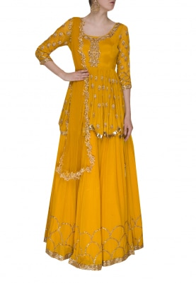 Citrus Embroidered Peplum Top with Scalloped Border Lehenga with Net Embellished Dupatta