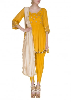 Citrus Embroidered Peplum Top and Dhoti with Striped Dupatta