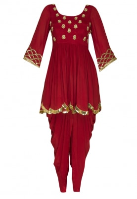 Red Embroidered Peplum Top and Dhoti with Striped Dupatta