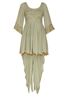 Pista Green Embroidered Peplum Top and Dhoti with Striped Dupatta