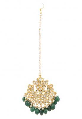 Gold Finish Kundan and Emerald Crescent Maangtikka