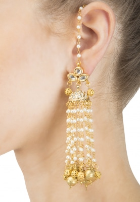 Gold Finish Kundan and Pearl Chain Tassel Earrings