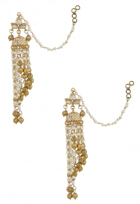 Gold Finish Kundan and Pearls Chandlier Earrings