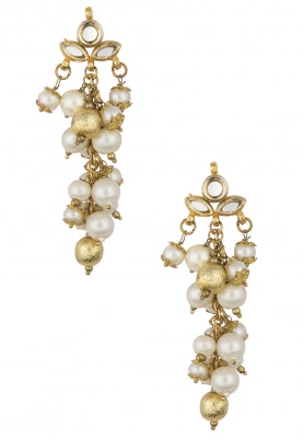 Gold Finish Kundan and White Beads Earrings