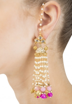 Gold Finish Kundan and Pearl Tasseled Pink Ball Earrings