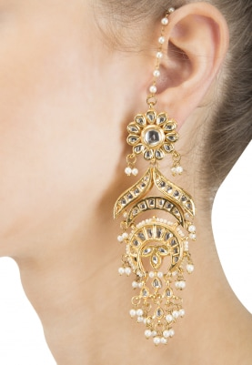 Gold Finish Kundan and Pearl Crescent Earrings