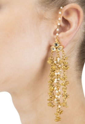 Gold Finish Kundan and Gold Pearls Chain Earrings