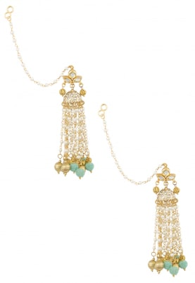 Gold Finish Kundan and Pearl Tassel Blue Beads Earrings