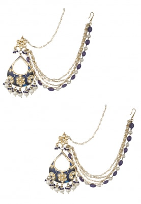 Gold Finish Blue Enamel Tear Drop Earrings