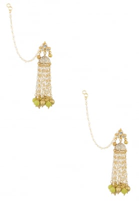 Gold Finish Kundan and Pearl Tassel Earrings
