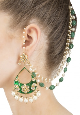 Gold Finish Green Enamel Tear Drop Earrings