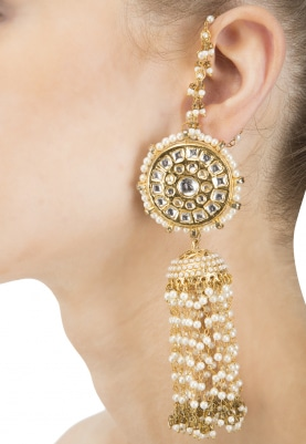 Gold Finish Kundan and Pearl Tassel Jhumki Earrings