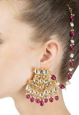 Gold Finish Kundan and Red Beads Earrings