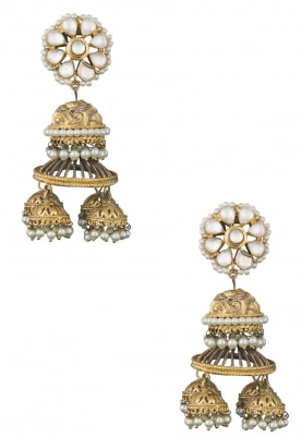 Gold Finish Kundan and Pearl Studded Jhumki Earrings