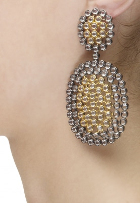 Rhodium and Gold Finish Clear Stones Studded Earrings