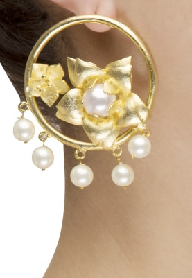 Gold Finish 3D Flower Motif Hoops Earrings