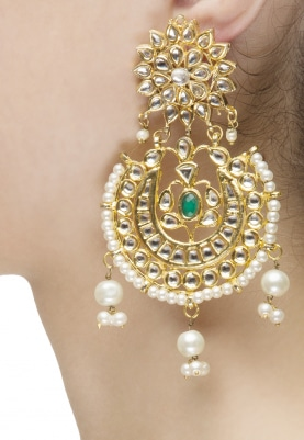 Gold Finish Kundan and Pearls Studded Chandbali Earrings