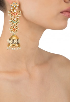 Gold Finish Kundan and Pearl Multicolour Jhumki Earrings