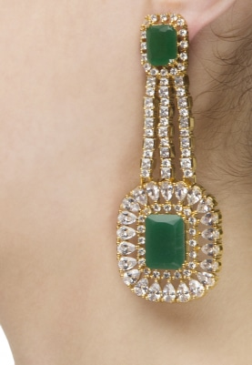 Gold Finish Zircons and Emerald Stones Earrings
