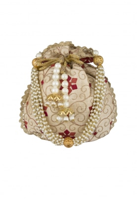 Beige Embroidered Potli with Lace On Side with Tassel On Draw-String and Pearl Sling