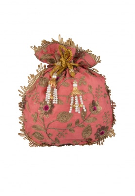 Coral with Golden Hand Embroidered Potli with Lace On Side with Draw-String and Pearl Tassel