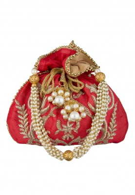 Red Intricately Hand Embroidered Potli with Floral Design Pearl Heavy Tassel Draw-String and Pearl Sling