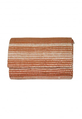 Orange Woven Envelope Clutch