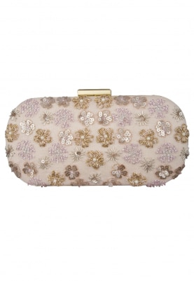 Light Pink Floral Design with Golden Hand Embroidered Capsule Shape Clutch