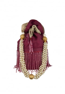 Rust Potli with Bead Work Hand Embroidered Heavy Tassel Draw-String and Pearl Sling