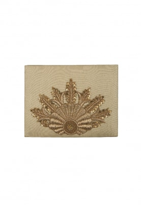 Golden with Golden Design Hand Embroidered Clutch