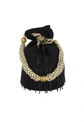 Black Potli Hand Embroidered with Pipes, Heavy Tassel Draw-String and Pearl Sling