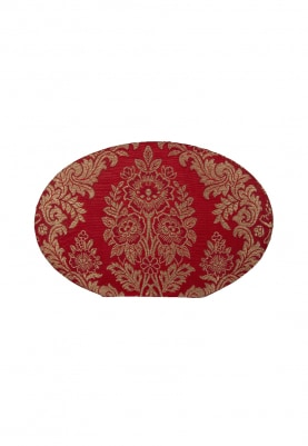 Red Brocade Oval Clutch with Golden Intricate Self Work All-Over