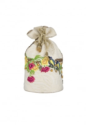 White Multi-Color Hand Embroidered Potli with Draw-String Closure